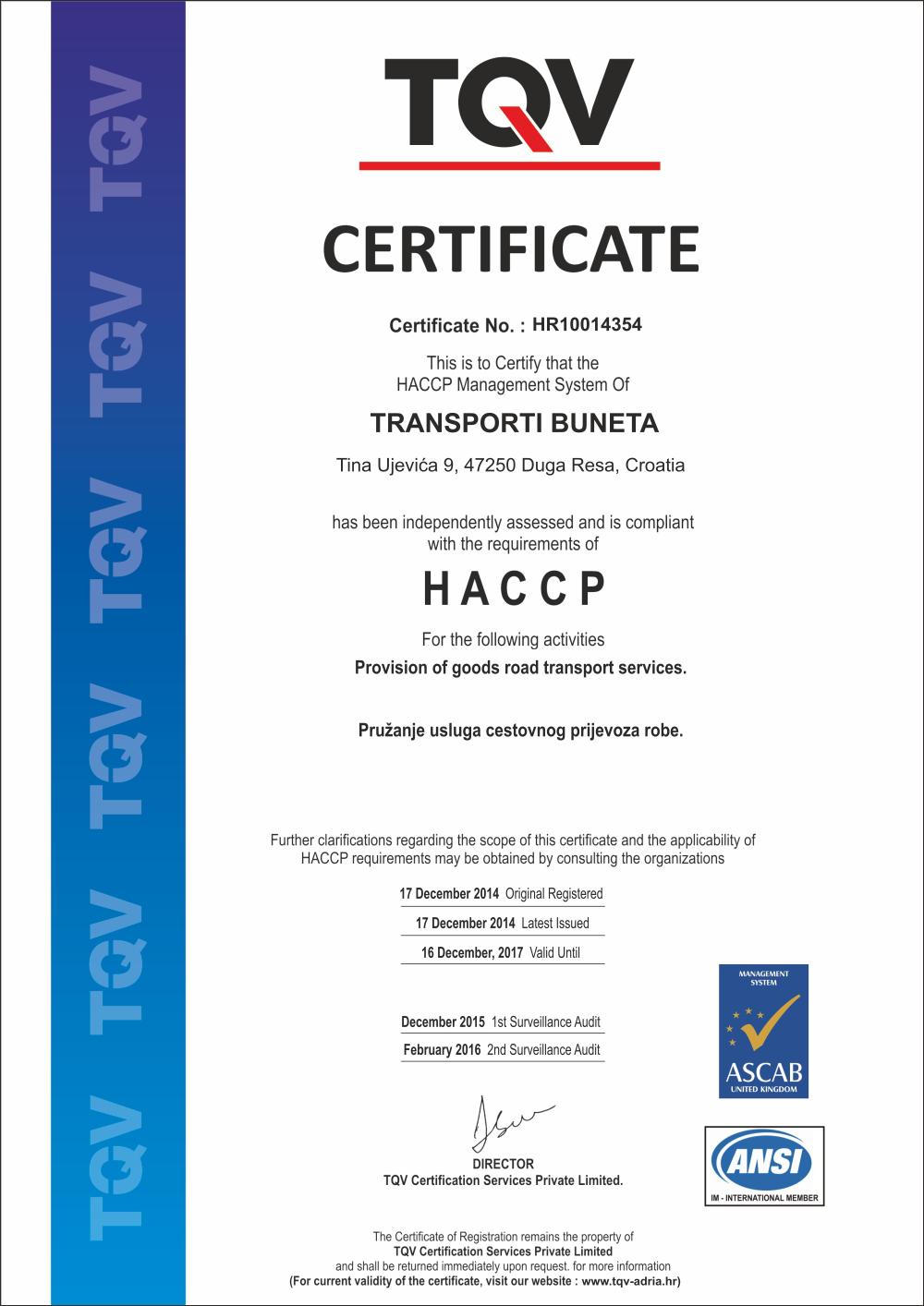 certifikat buneta haccp